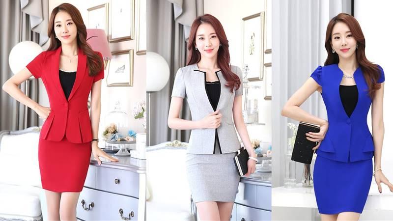 Mẫu áo vest và chân váy công sở đẹp tại Trường Xinh