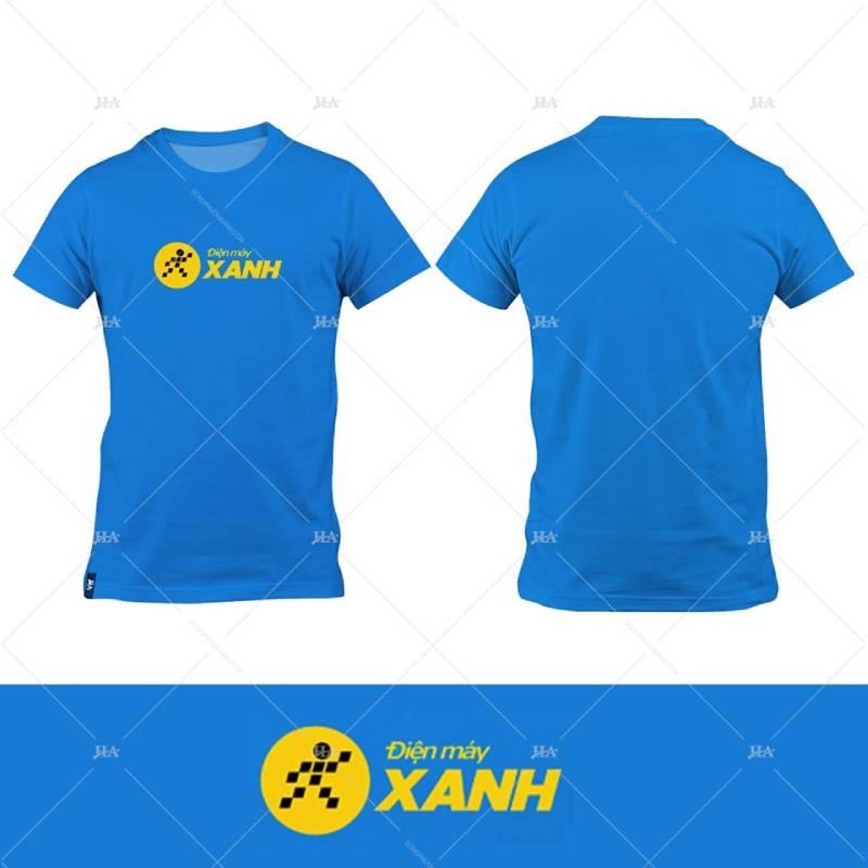 Đồng phục Điện Máy Xanh với thiết kế áo thun cổ tròn cùng logo trước ngực nổi bật