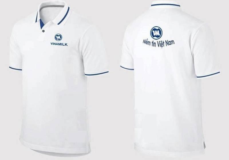 Đồng phục Vinamilk với thiết kế polo cùng hai gam màu trắng, xanh hài hòa
