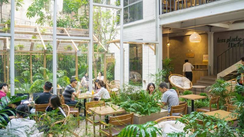 Nhiều dân văn phòng, freelancer chọn  Foglian Coffee ngồi làm việc bởi không gian tưới mát của cây cối