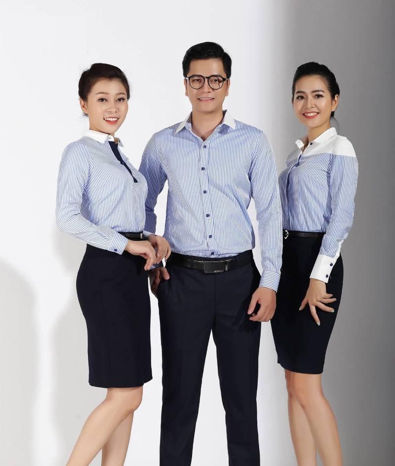 Áo sơ mi đồng phục công sở dài tay mang đến sự chỉn chu và duyên dáng trong tác phong từng nhân viên