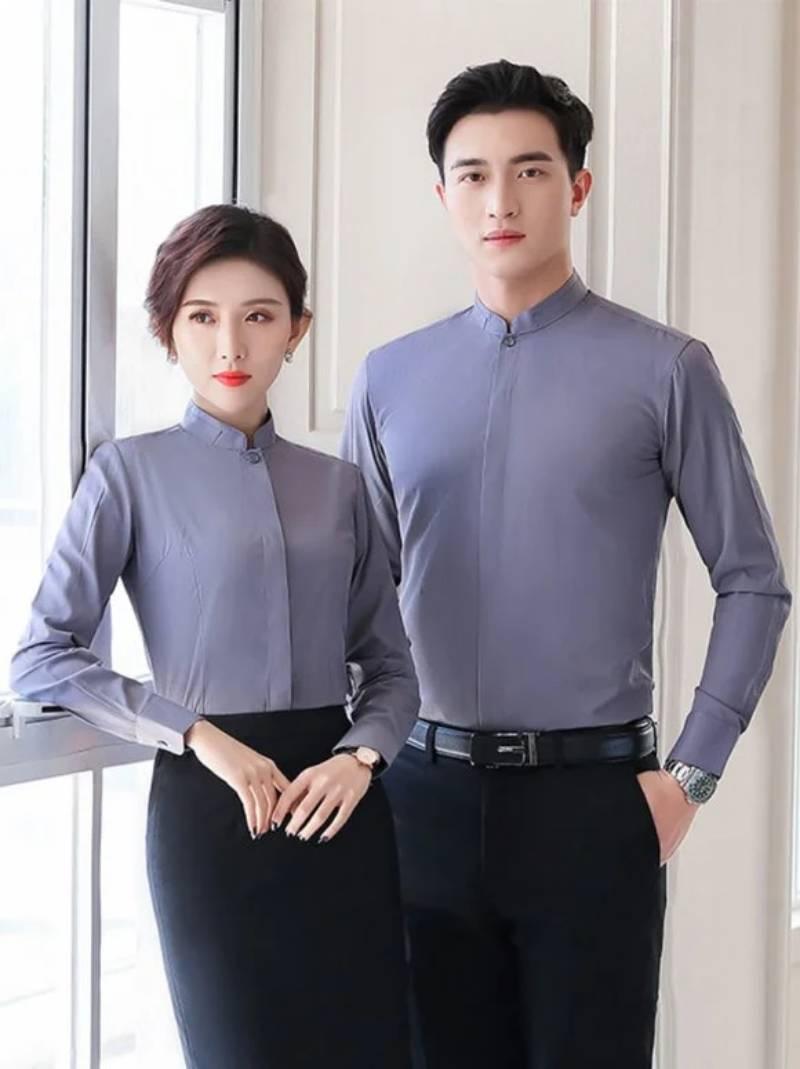 Áo sơ mi đồng phục công sở đơn sắc, thiết kế đơn giản mà chuyên nghiệp