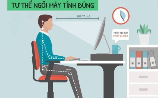 Thư thế ngồi làm việc đúng cách cho dân văn phòng tránh các vấn đề đau nhức cổ, vai. gáy