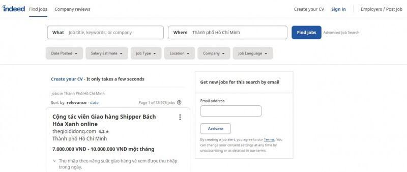 Indeed - Website tuyển dụng có lượt truy cập hàng tháng lớn nhất hiện nay
