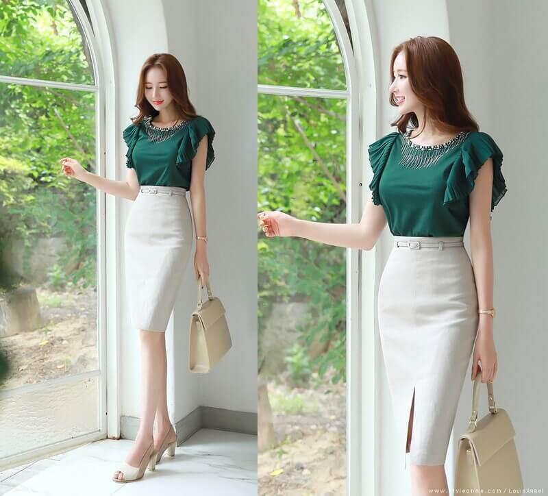 Chân váy bút chì là item mà bất kì cô nàng nào cũng nên sở hữu để có phong cách ăn mặc đẹp khi đi làm