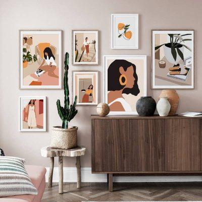 Tranh treo tường Vintage họa tiết đa dạng, màu sặc cực chất