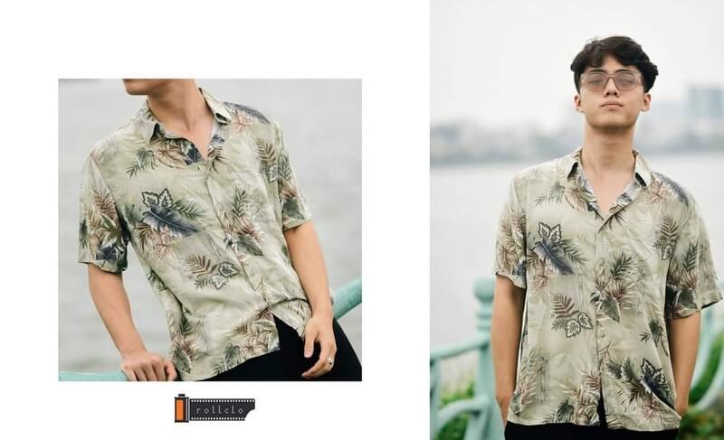 Quần tây màu xám kết hợp áo sơ mi họa tiết trẻ trung, năng động cho nam khi đi làm