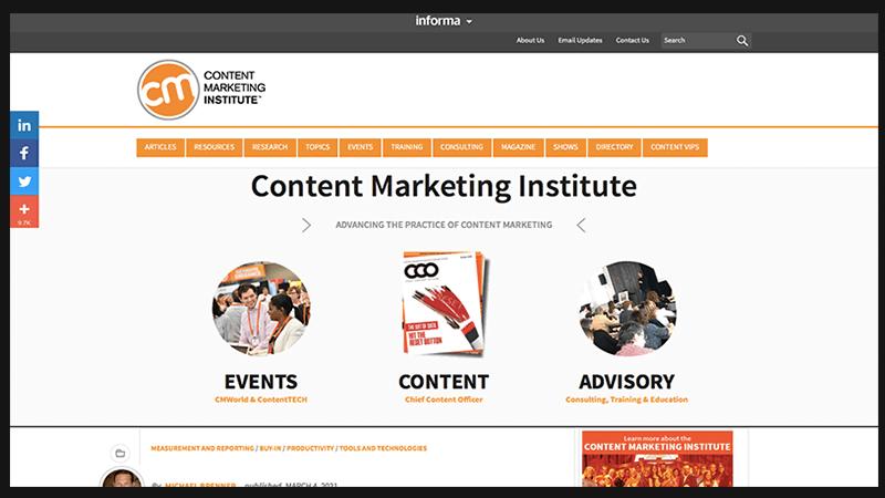 Content Marketing Institute -website về marketing dành cho các contenter